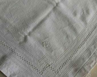 tablecloth white embroidered vintage hemp