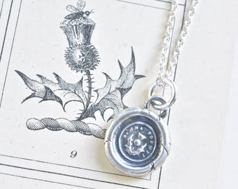 Scottish thistle wax seal necklace - dinna forget outlander jewelry - tiny sterling silver antique trinket wax seal jewelry