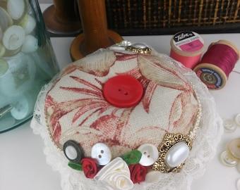 Pincushion-Red Floral Pincushion-Sewing notions-Handmade Pincushion