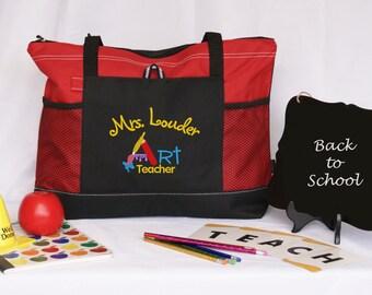 Gepersonaliseerde kunst leraar tote tas met verf, graduatiegift, waardering cadeau, rood, blauw, groen, roze geborduurde zijvak