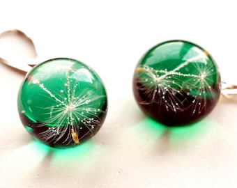 resin jewellery  earrings  andelion resin handmade