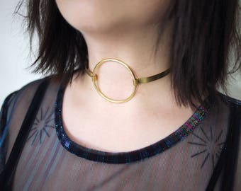 VAMP Brass Choker with Large Brass Plated Ring