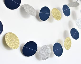 Navy Gold and Silver, 10ft, Paper Garland, Birthday Party Decor, Wedding Decor, Shower Decor, Nursery