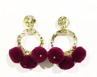 Gold and silver glitter burgundy Pom Pom earrings, drop earrings, acrylic earrings, laser cut earrings