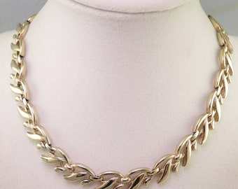 Signed Monet Gold Tone Vine Necklace 1955-60s