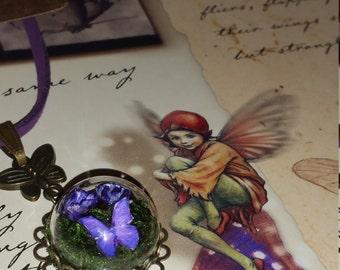 Butterfly Necklace, Glass Dome Mini Terrarium with Flowers, Moss and Butterfly Necklace, Purple