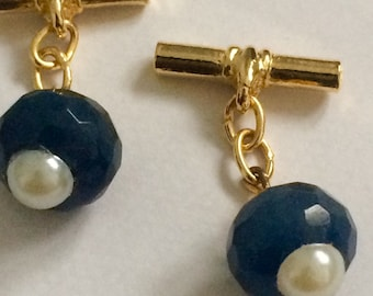 Gilt cufflinks with Faceted sapphire cabochons and pearl