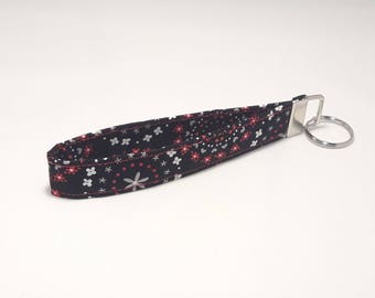 Black with White, Grey, and Red Floral Fabric Keychain / Wristlet / Key Fob