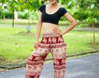 Elephant Print Thai Pants, Rayon Pants, Boho Strenchy Pants, Elastic Waist Clothing Beach Women Baggy Casual Red Color N182078