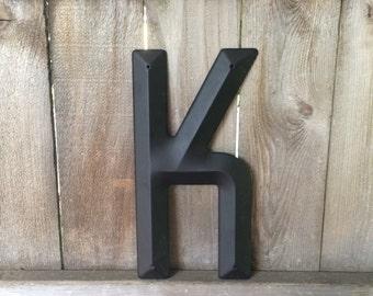 """14"""" Vintage Industrial Metal Marquee Letter K - Black metal - NOS Steel Sign Letter - salvaged black metal letter -beveled metal letter"""