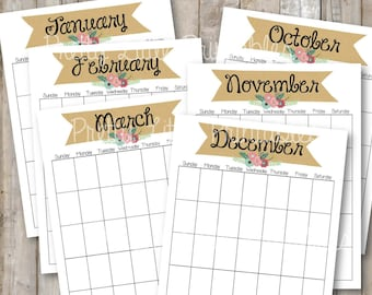 Blank Calendar Pages - Any Year, All Months *Instant Download*