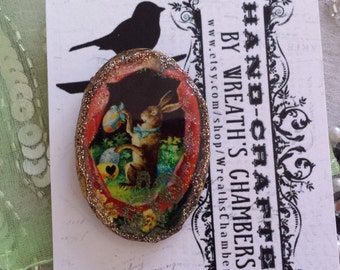 Easter Cute Victorian Rabbit Oval-Shaped Polymer Clay Brooch