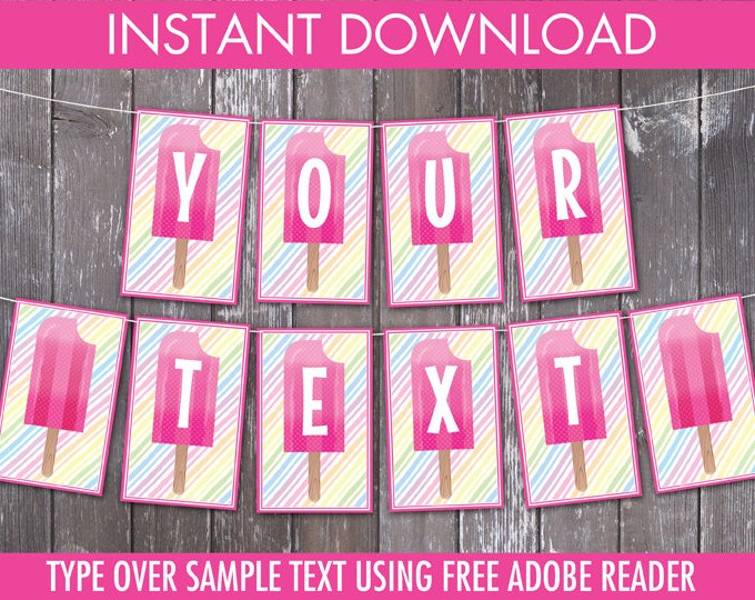 Popsicle Party Banner - Popsicle Birthday, Ice Lolly, Ice Pop, Self-Editing   DIY Editable Text INSTANT DOWNLOAD Printable