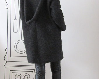 Extravagant Wool Coat With Patch Pockets / Overcoat / High Collar Wool Coat  by FabraModaStudio /FAB404