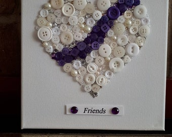 Purple and pearl button art heart