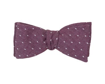Merlot Chambray Dot Bow Tie