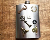 Steampunk Watch Face Hip Flask 6 Ounce ~ Skeleton Key Washer Airship Propeller Salvaged Latches Altered Art Industrial Cosplay Accessory