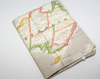 Brown paspoort pouch/World Map Passport Cover,Fabric Passport Case,Passport wallet,/Passport holder, passport cover,United States, Australie
