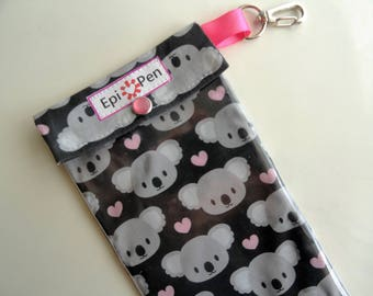 Epi Pen Case Koala Bear Clear Front Pocket & Swivel Clip Pouch Holds up to 2 Allergy Auto Injector Pens Includes ID Card