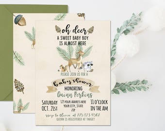 Woodland Baby Shower Invitation, woodland animal baby shower, oh deer baby shower, baby boy shower, forrest baby shower, woodland theme, boy