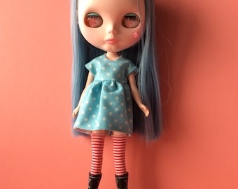 Blue with polka dots dress