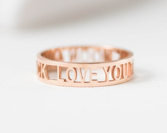 Custom Messages Ring • Personalized Gift • Custom Names Ring • Engagement Ring • Bridal Band • Wedding Band • MOTHERS RING • RM26