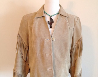 Vintage Suede Western Southwest Hippie Boho Fringe Jacket Ladies Size Medium 6 or 8