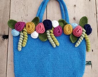 Felted crochet flower tote bag