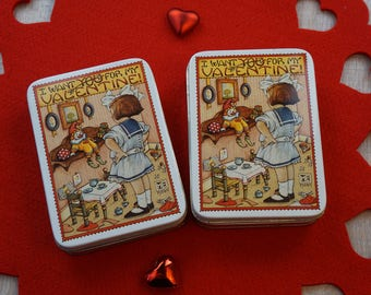 Pair of Vintage 1984 Mary Engelbreit Valentine's Tins