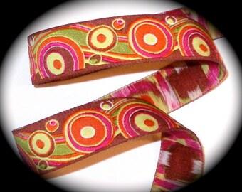 "Circles and Swirls Woven Ribbon - 7/8""  Brown, Orange, Kiwi Green and Pink"
