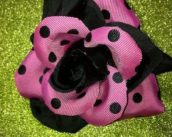 Gorgeous Rockabilly Pink Polka Dot Black Rose Hair Flower PinUp
