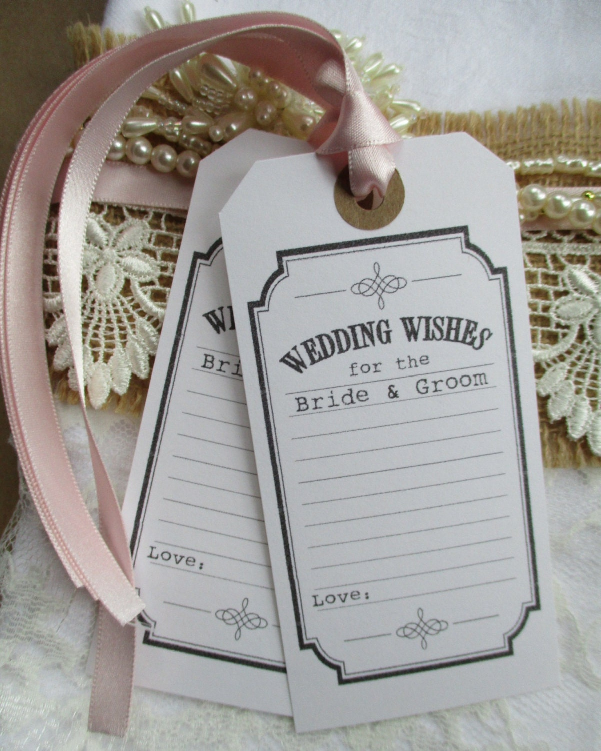 Wedding Wish Tag Ticket Style Wedding Wishes For the Bride &