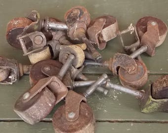 Coasters-- Vintage Metal and Wooden Furniture Wheels Grab Bag of Different Sizes Upcycled Hardware for Furniture Repair Crafts Steampunk