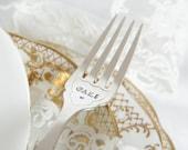 Cake fork, stamped fork, gift, sister birthday, best friend gift, Cake Fork - Hand stamped pair of cake forks