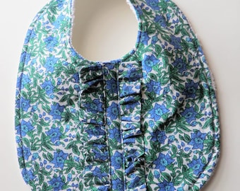 Fashionista Baby Bib with Ruffles - Blue and Green Floral