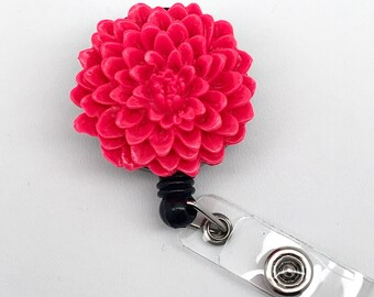 Handmade Hot Pink Chrysanthemum Flower Cabochon Alligator Swivel Clip Retractable ID Badge Reel / Name Badges / ID Badge Holder Great Gift