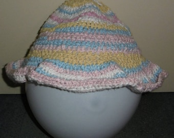 MAGNIFIQUE CHAPEAU aux COULEURS pastels au crochet en coton