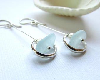 Sea glass earrings. Sterling Silver circles. Sea glass jewelry. Handmade Maine Jewelry. Artisan silver earrings. Summer earrings. Ocean