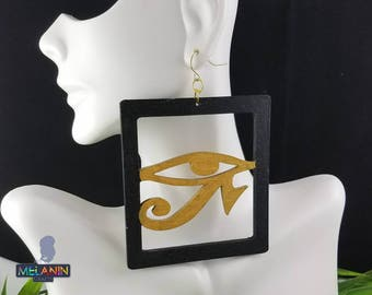 Horus Eye- Handmade Wooden Earrings