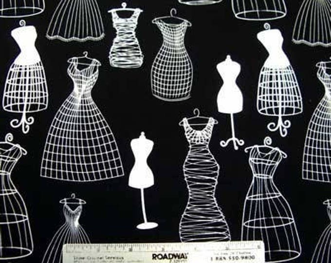 DRESSFORMS Michael Miller DRESS Forms BLACK And White Quilt Fabric Remnants