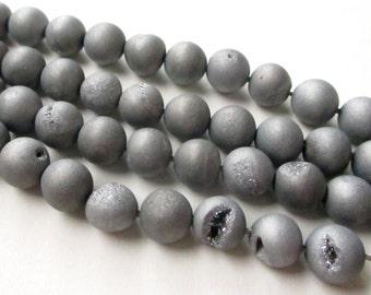 "Silver Druzy Round Beads - Titanium Pixie Dust - Matte Coated Drusy Agate - Gray Round Ball - 8mm - 8"" Strand - DIY Bulk Jewelry Making"