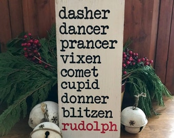 Reindeer Names Christmas Wooden Primitive Rustic Sign