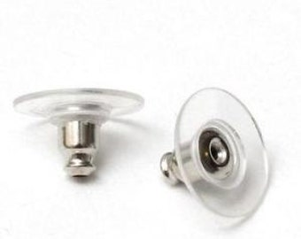 free shipping in UK - Pack of 20 Silver Plated and Plastic Earring Backs Ear Post Stoppers