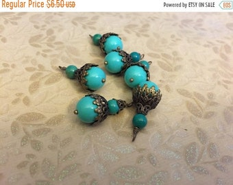 ON SALE NEW Vintage style Opaque old French style aqua Turquoise glass beads Pendant Dangle charms antique bronze plated metal bead caps