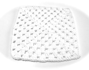 White Crocheted Square Dish Cloth