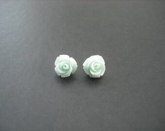 baby blue rose post earring