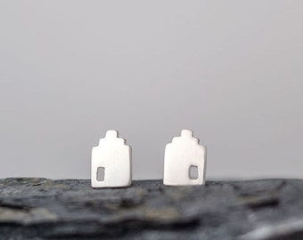 Silver House Earrings Dutch Canal House Studs Sterling Silver Tiny minimal stud earrings step gable house