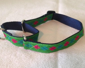 """Beautiful Jacquard Ribbon Martingale Collar, Green Pink Teal Argyle, 1 inch wide and adjustable 16"""" to 22"""""""