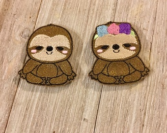 Sparkly Sloth Finger Puppet Pair