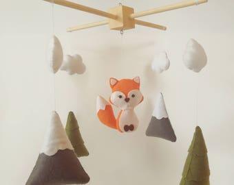 Fox mobile, fox baby mobile, Woodland Nursery Decor, Woodland Mobile,  Felt Woodland Baby Mobile, Woodland Nursery, baby crib mobile